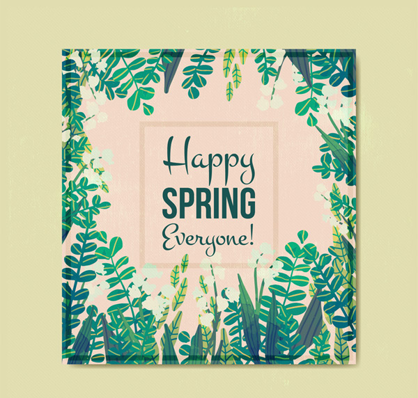 Green leaf square card in spring