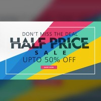 Half price promotion posters