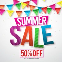 Half price promotion posters in summer