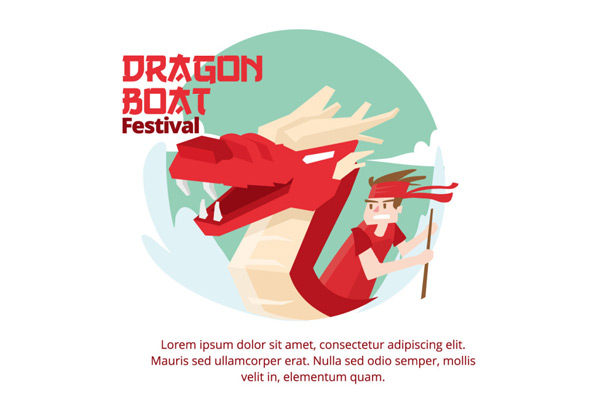 Hand painted Dragon Boat Festival illustration