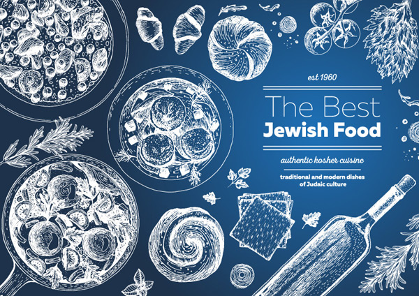 Hand painted Jewish Food Menu