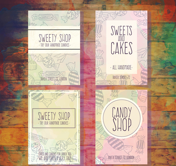 Hand painted candy shop card