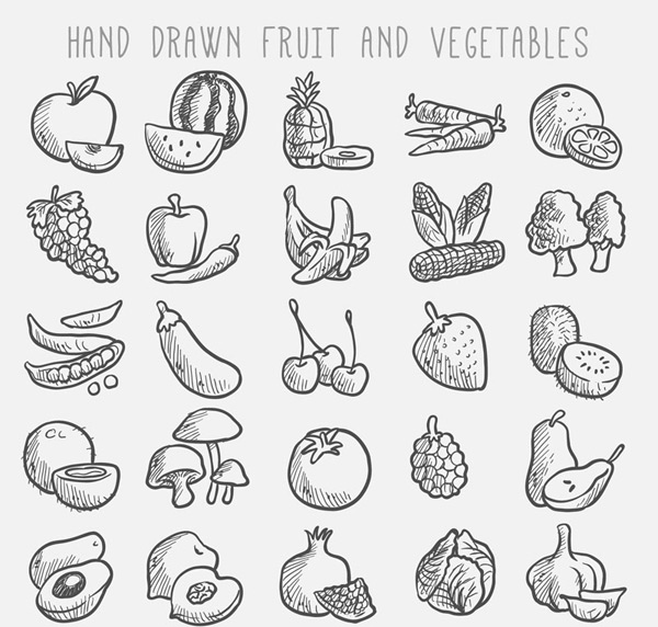 Hand painted fruits and vegetables