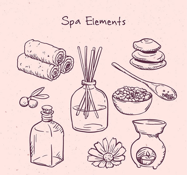 Hand painted spa elements