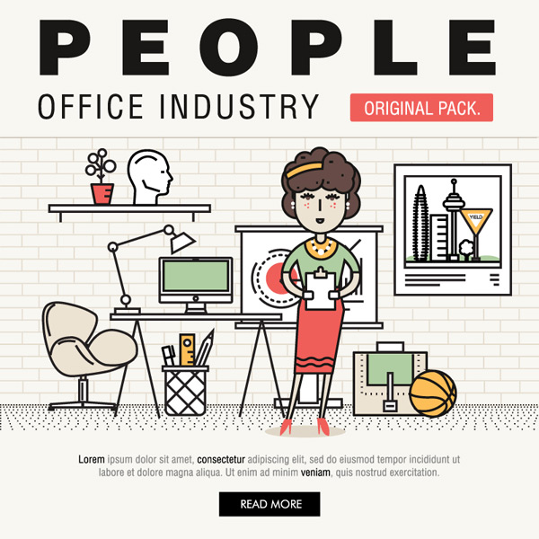 Illustration of office characters