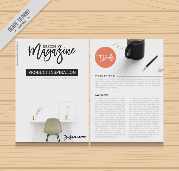 Interior pages of design journals
