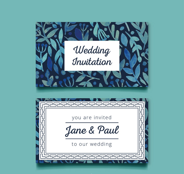 Leaf wedding invitation card