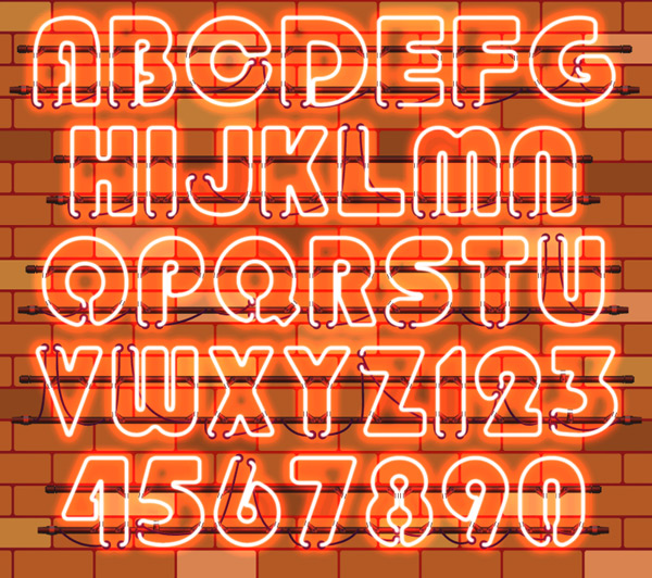 Letters and numbers of neon lights