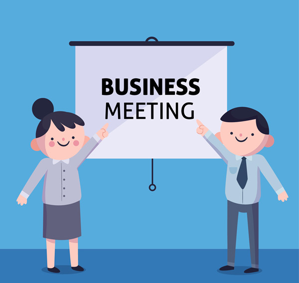 Men and women in business meetings