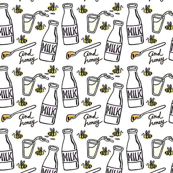 Milk and bee background