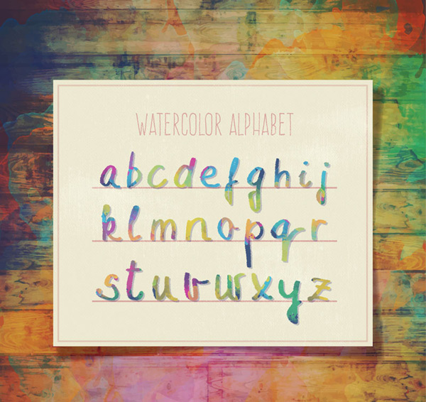 Mixed color watercolor letters