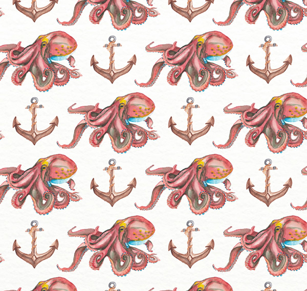 Octopus and anchor background
