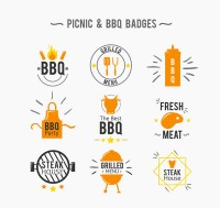 Orange barbecue barbecue Badge