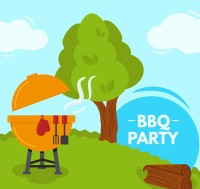 Outdoor barbecue illustration