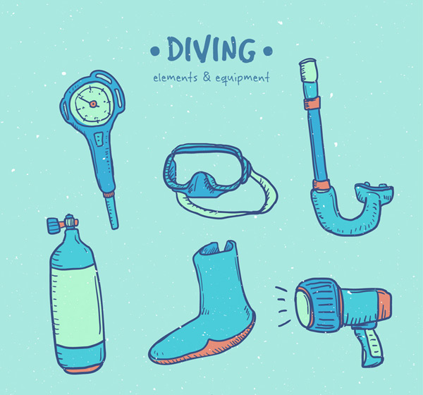 Painted diving supplies
