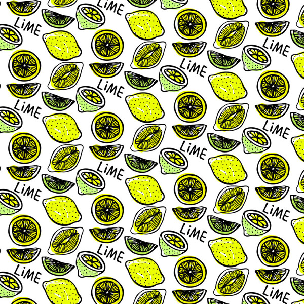 Painted lemon seamless background