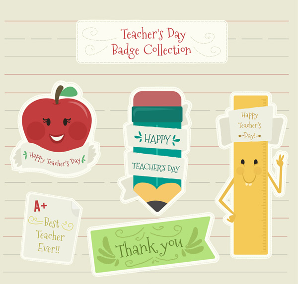 Painted teachers DAY BADGE