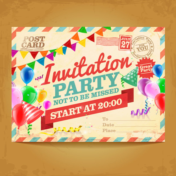 Party invites postcards