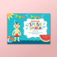 Pool party invitation card