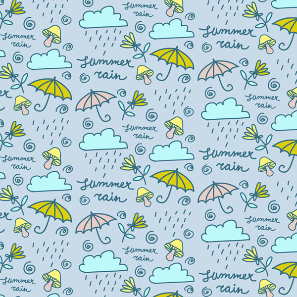 Rain clouds and umbrella background