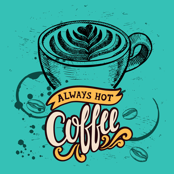 Retro hand painted coffee Poster
