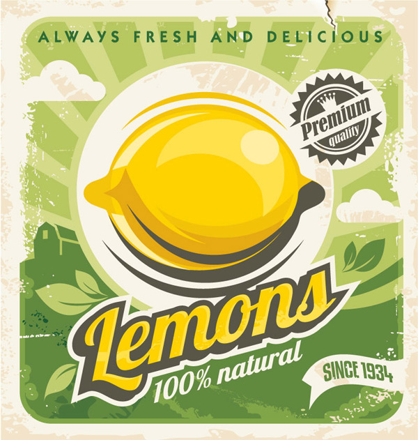 Retro lemon Poster