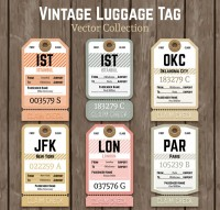 Retro paper luggage tag