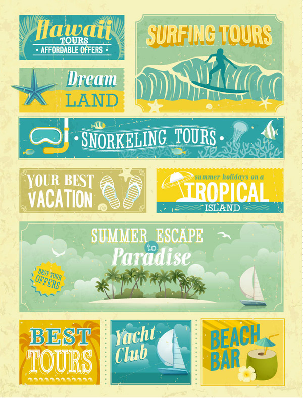 Retro vacation element tags