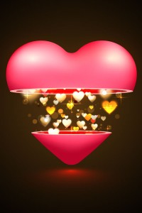 Romantic heart bright light
