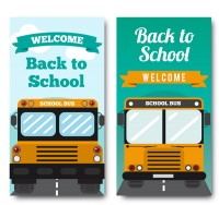 School bus back to school banner