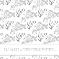 Seamless background of fish and aquatic plants