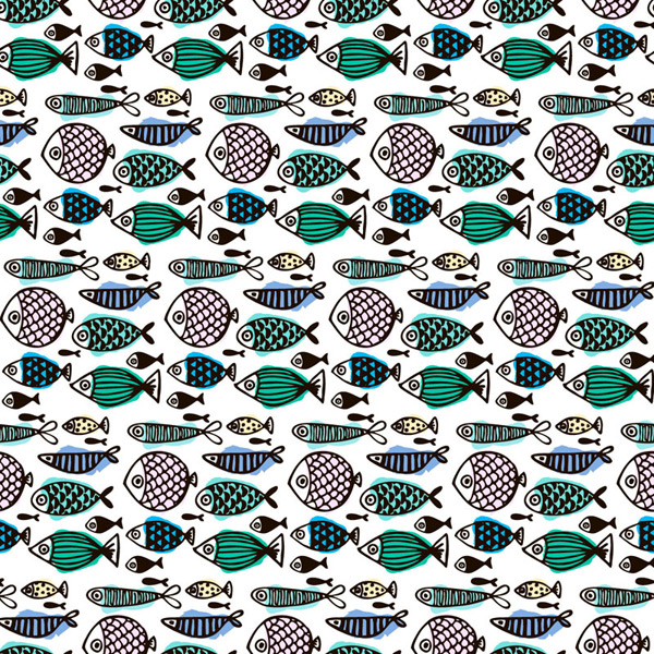 Seamless background of painted fish