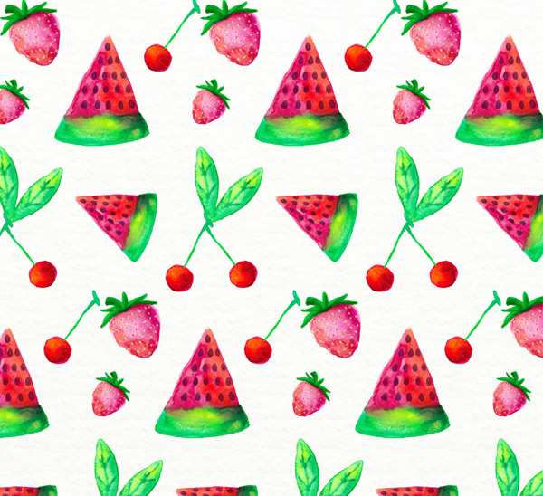 Seamless background of painted fruits