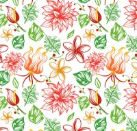 Seamless background of tropical flowers