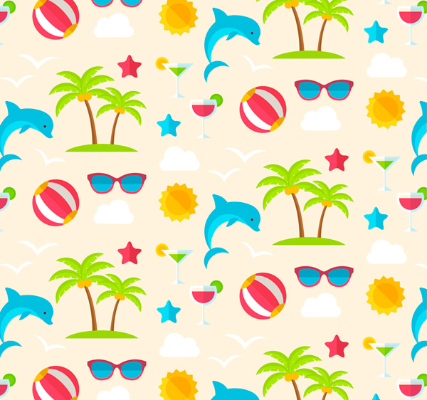 Seamless background of vacation elements