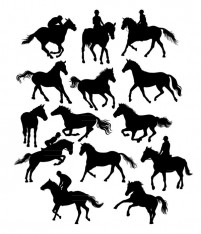 Silhouette of Equestrian Horse