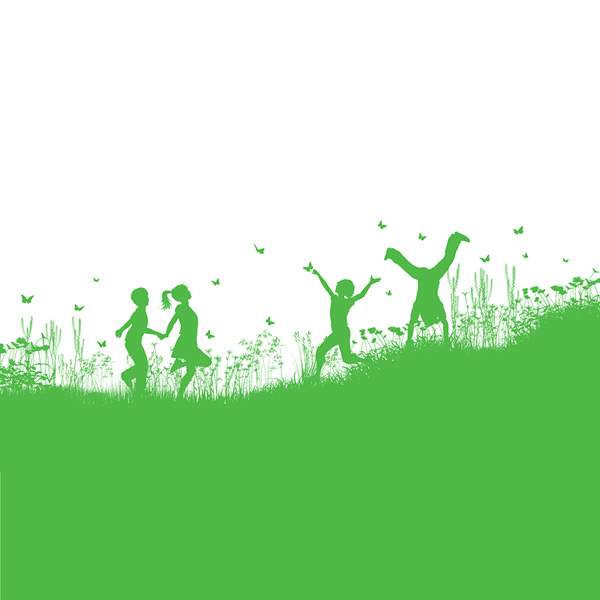 Silhouette of children playing in the countryside