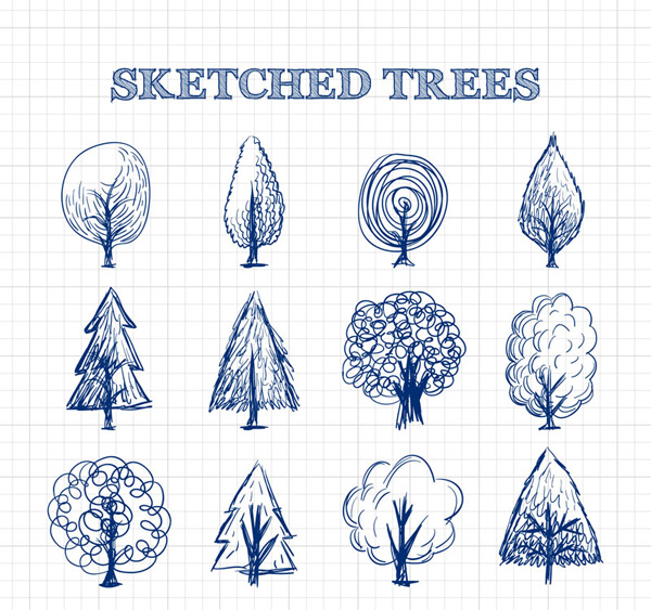 Sketch of hand drawn trees