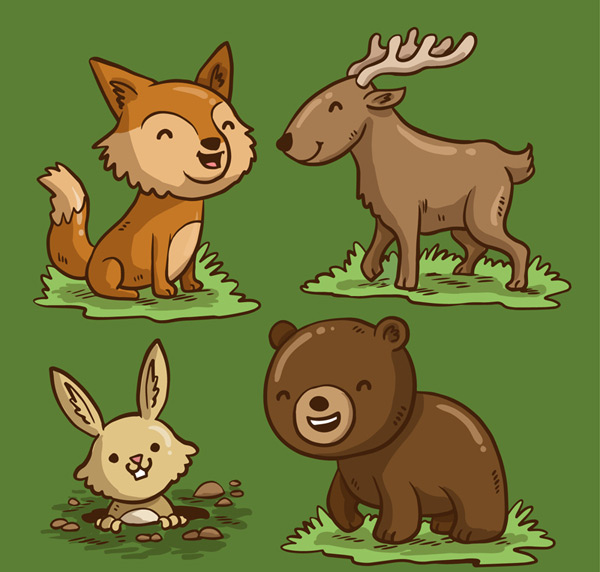 Smiling forest animals