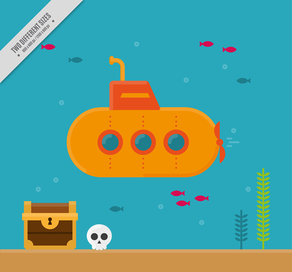 Submarine and treasure
