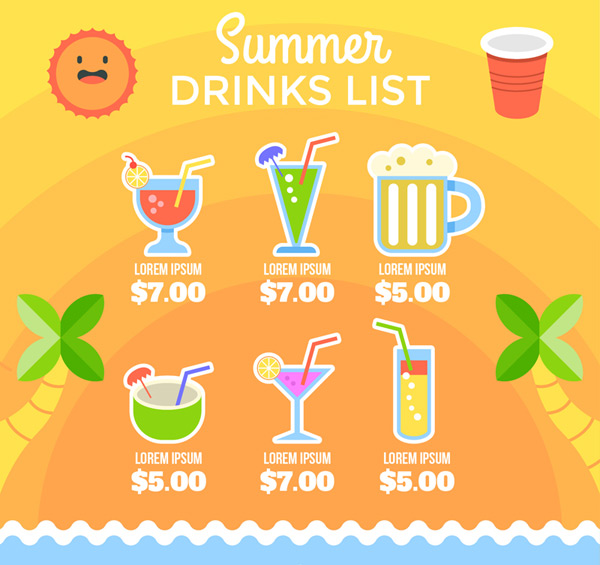 Summer drinks and drinks list
