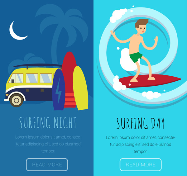 Surfing illustration in summer