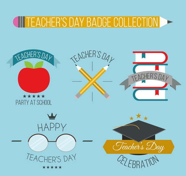 Teacher s Day badge vector