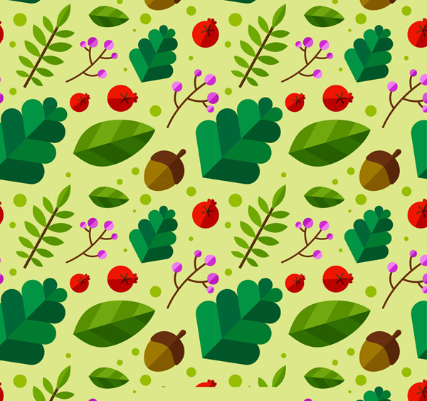 The background of leaves and acorns