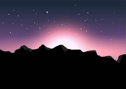 The evening glow mountain scenery