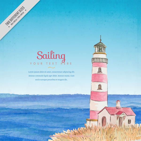 The lighthouse and the sea vector