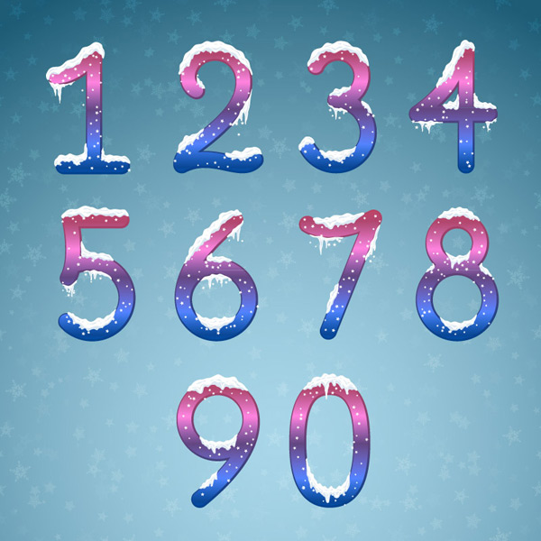 The numbers falling on snowflakes