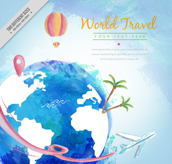 Travel illustration of the earth world