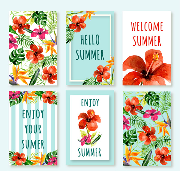 Tropical flower cards in summer