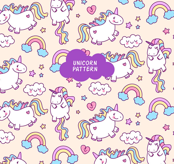 Unicorn cloud background